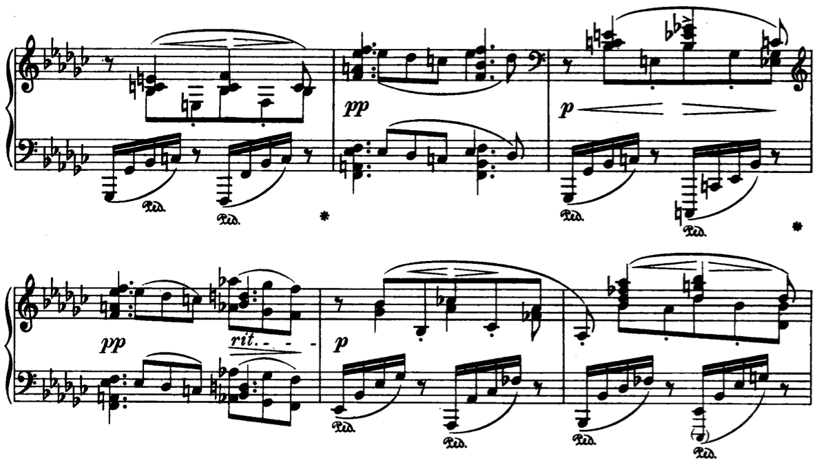 Interesting music notation heres a measure with no less than four horizontal positions for notes that are all on the downbeat taken from johannes brahmss intermezzo op 117 no biocorpaavc Image collections