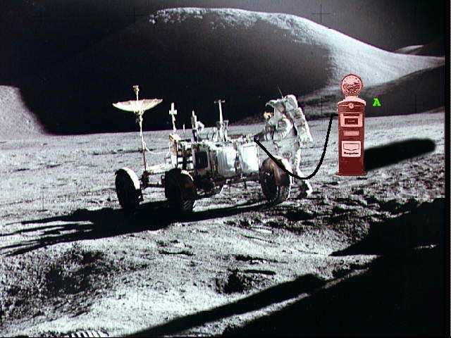 picture of rover next to gas station