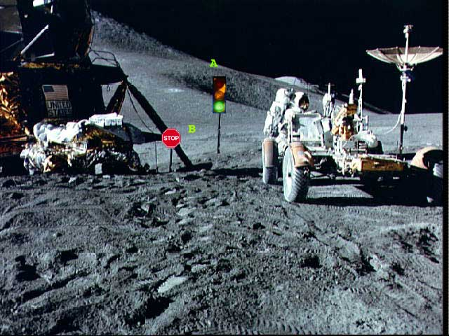 picture of rover in front of traffic signs