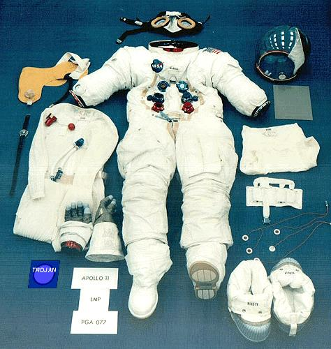 picture of astronaut suit items, including a trojan